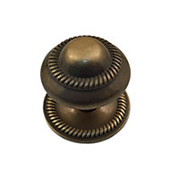B&Q Antique Antique brass Round Internal Knob Furniture knob (D)37 mm