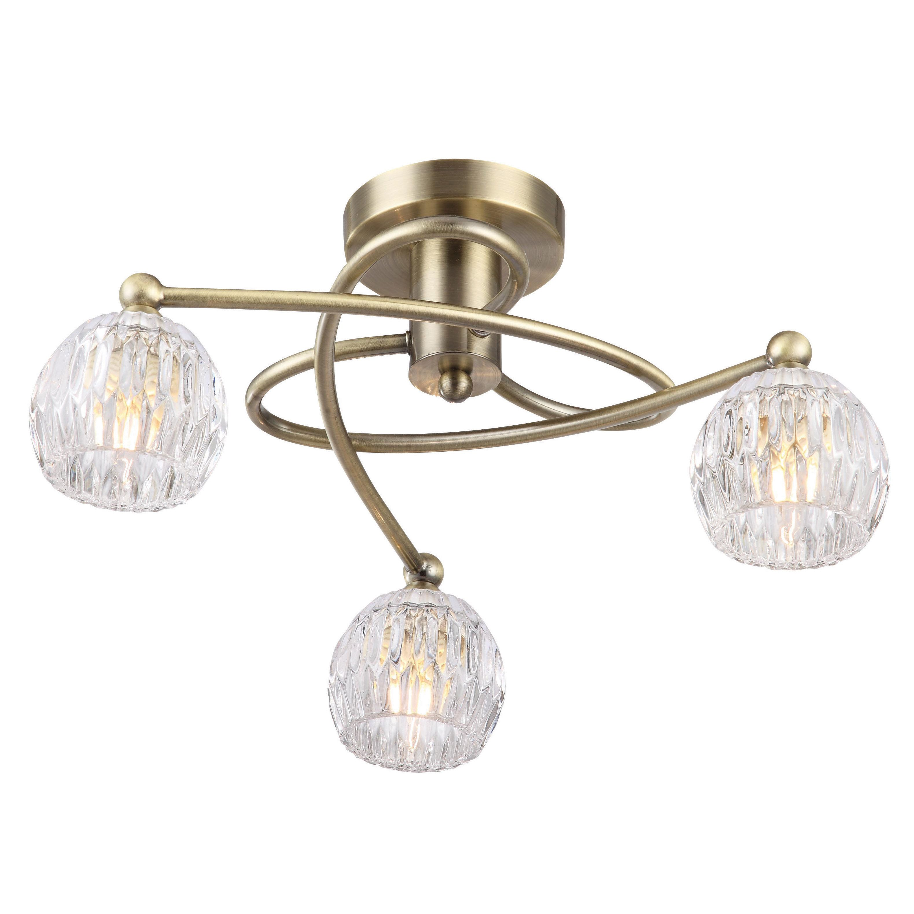 Steyning clear 3 lamp ceiling light departments diy at bq aloadofball Images