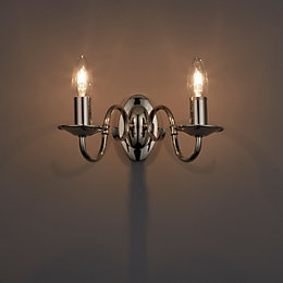 Manning Clear Polished Nickel Wall Light