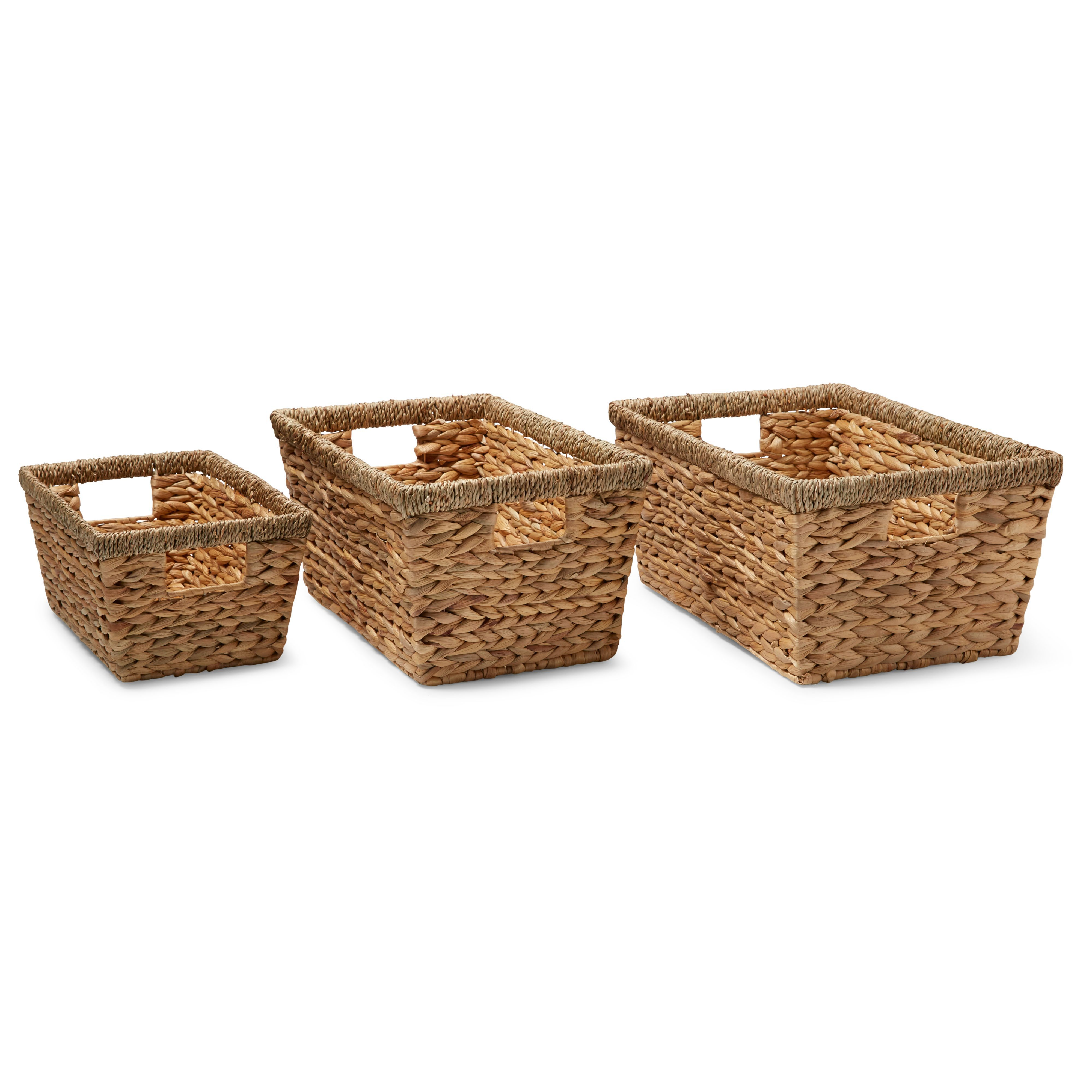 Seagrass Storage Baskets: Water Hyacinth & Seagrass Stackable Storage Basket, Set Of