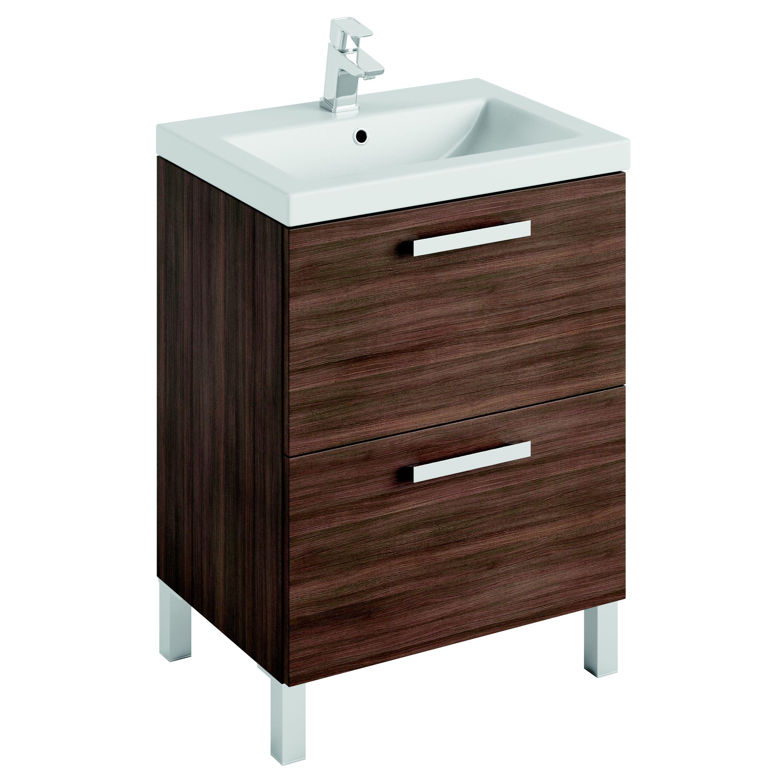 Cooke Lewis Romana Walnut Effect Vanity Unit Basin Set Departments Diy At B Q