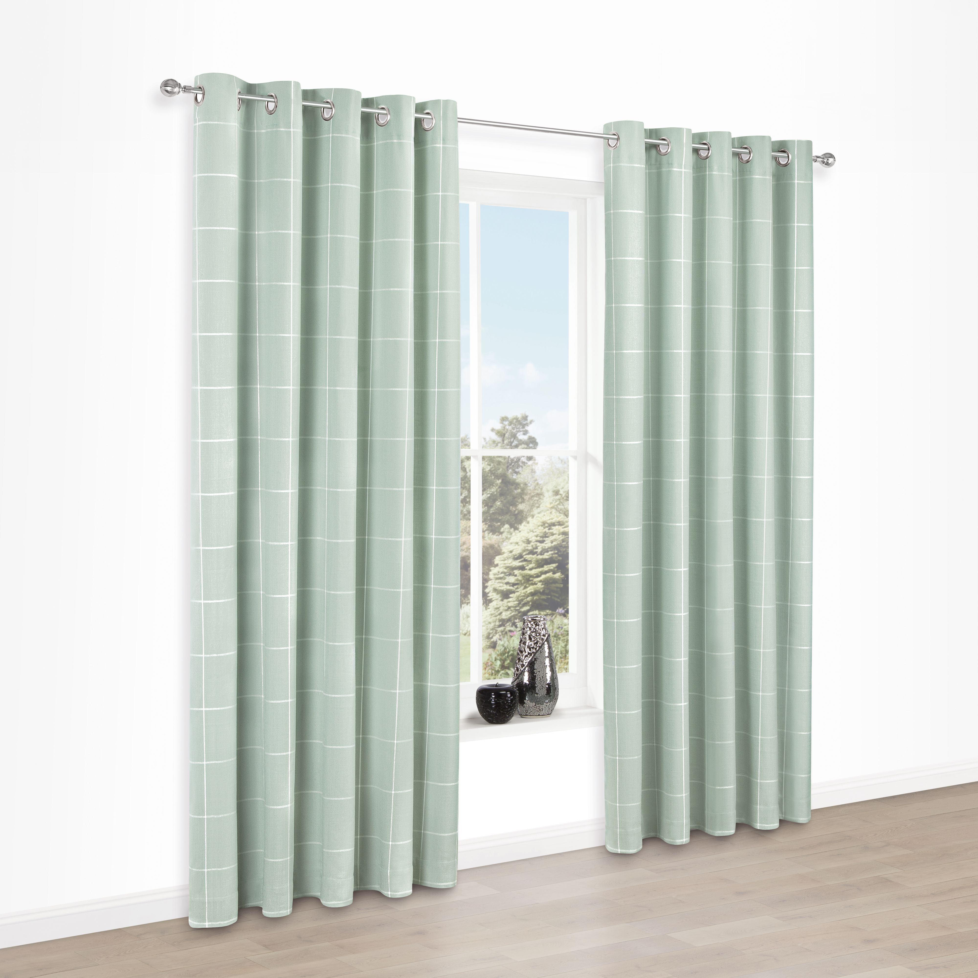 Carrie Mint Check Jacquard Eyelet Lined Curtains (W)117 cm (L)137 ...