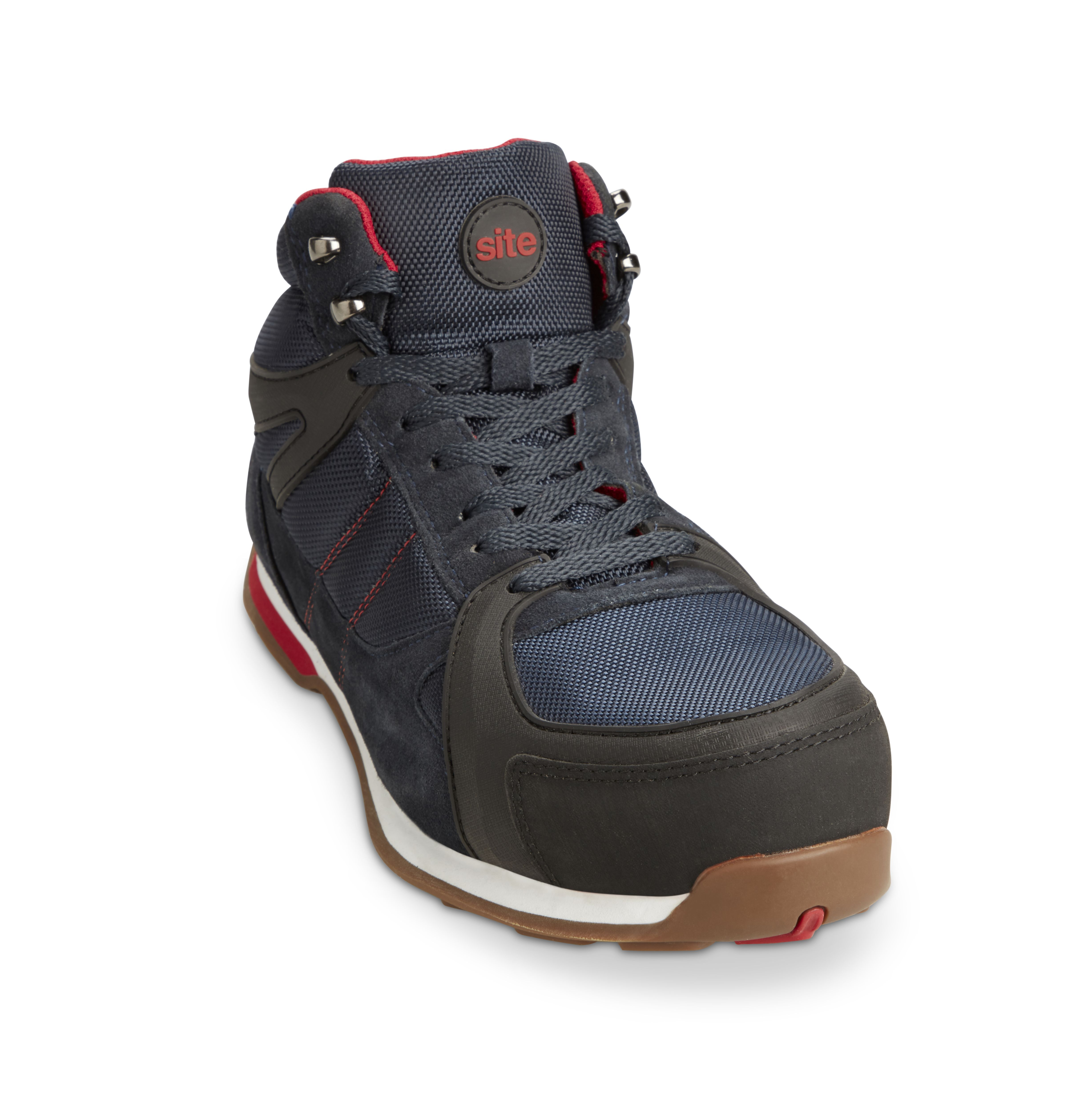 Tongue and Insole Site Strata Safety Trainers Navy Padded Collar