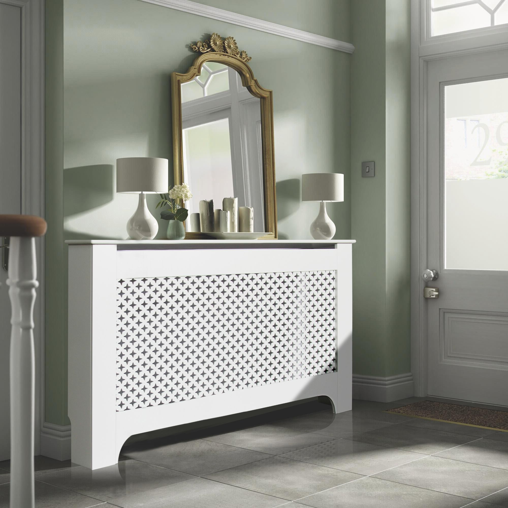 richmond large white painted radiator cover departments. Black Bedroom Furniture Sets. Home Design Ideas