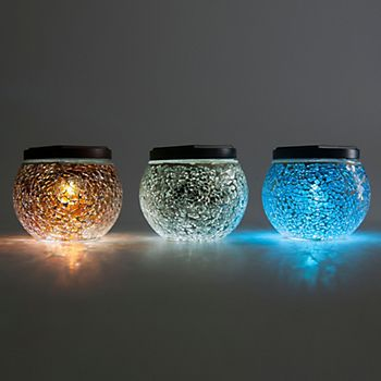 Blooma Eaton Blue, Brown & Silver Effect Mosaic Globe Solar Powered LED Table Lamps