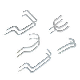 Grey PVC Coated Steel Storage Hooks, Pack of
