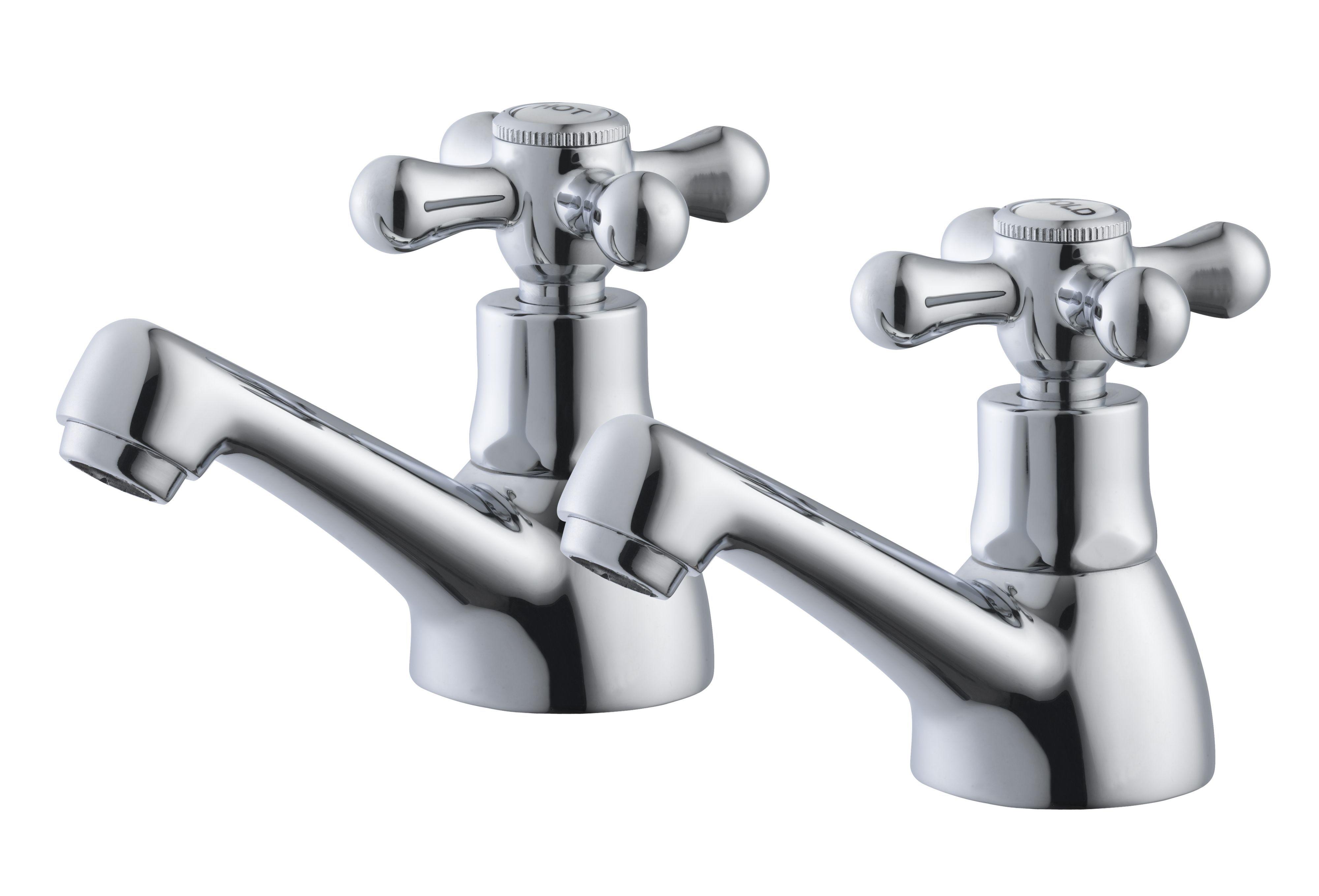 Plumbsure Azure 2 Lever Hot & cold basin pillar tap ...