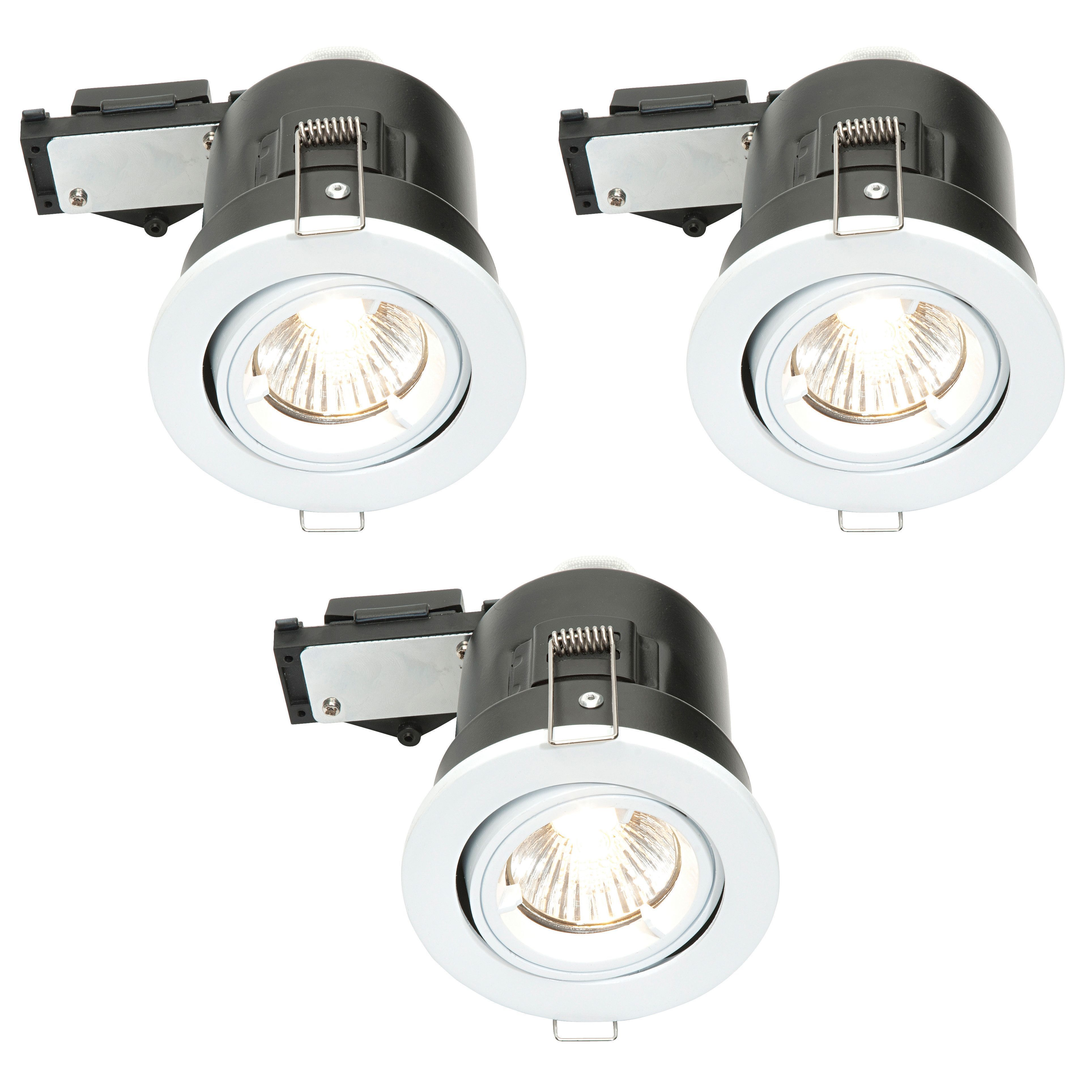 Diall IP23, Pack of 3 Gloss White Adjustable LED Fire ...
