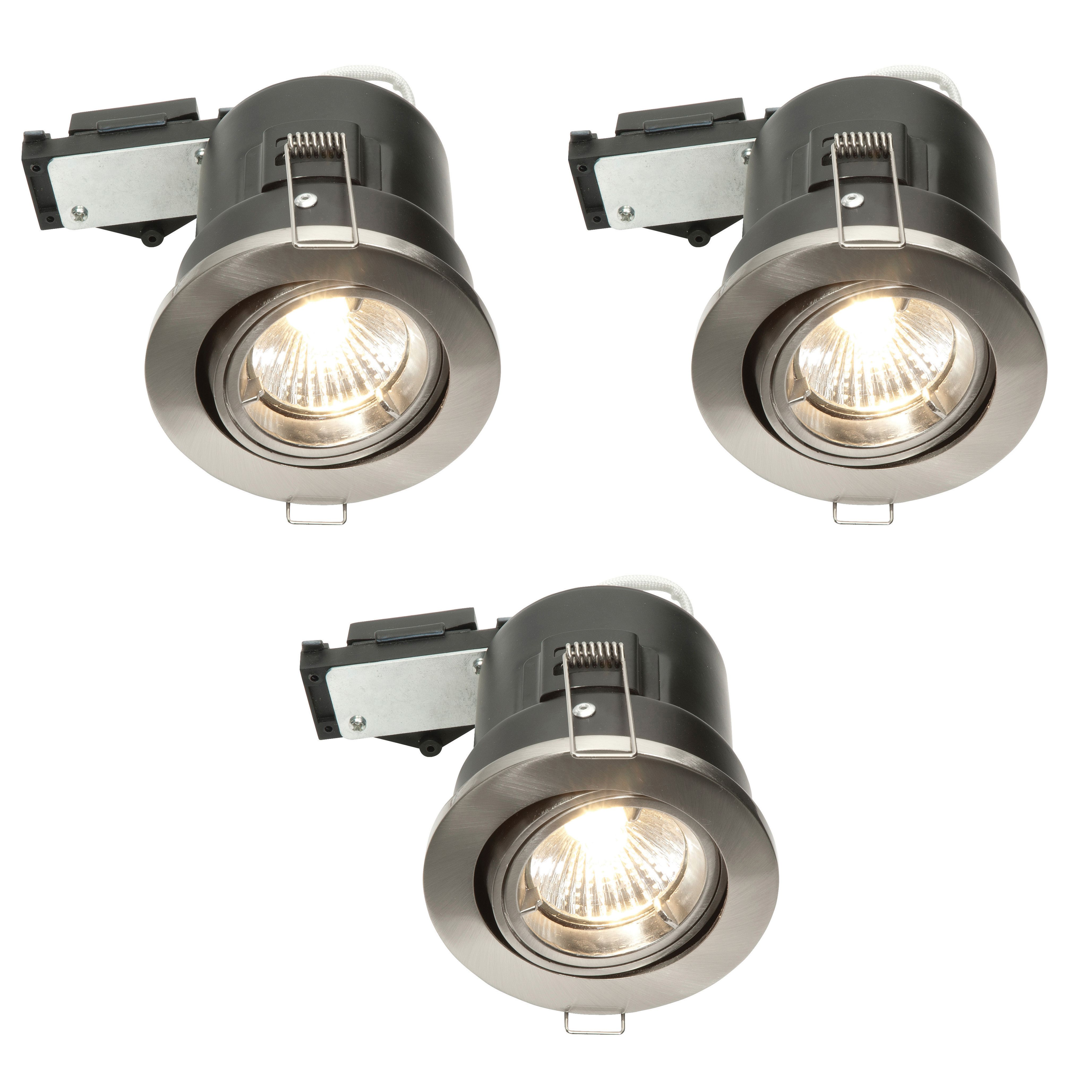 Diall Brushed Chrome Effect LED Adjustable Downlight 3.5 W