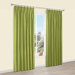 Prestige Chlorophyll Plain Pencil Pleat Lined Curtains (W)117