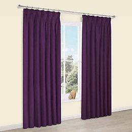 Prestige Purple Plain Pencil pleat Lined Curtains (W)117