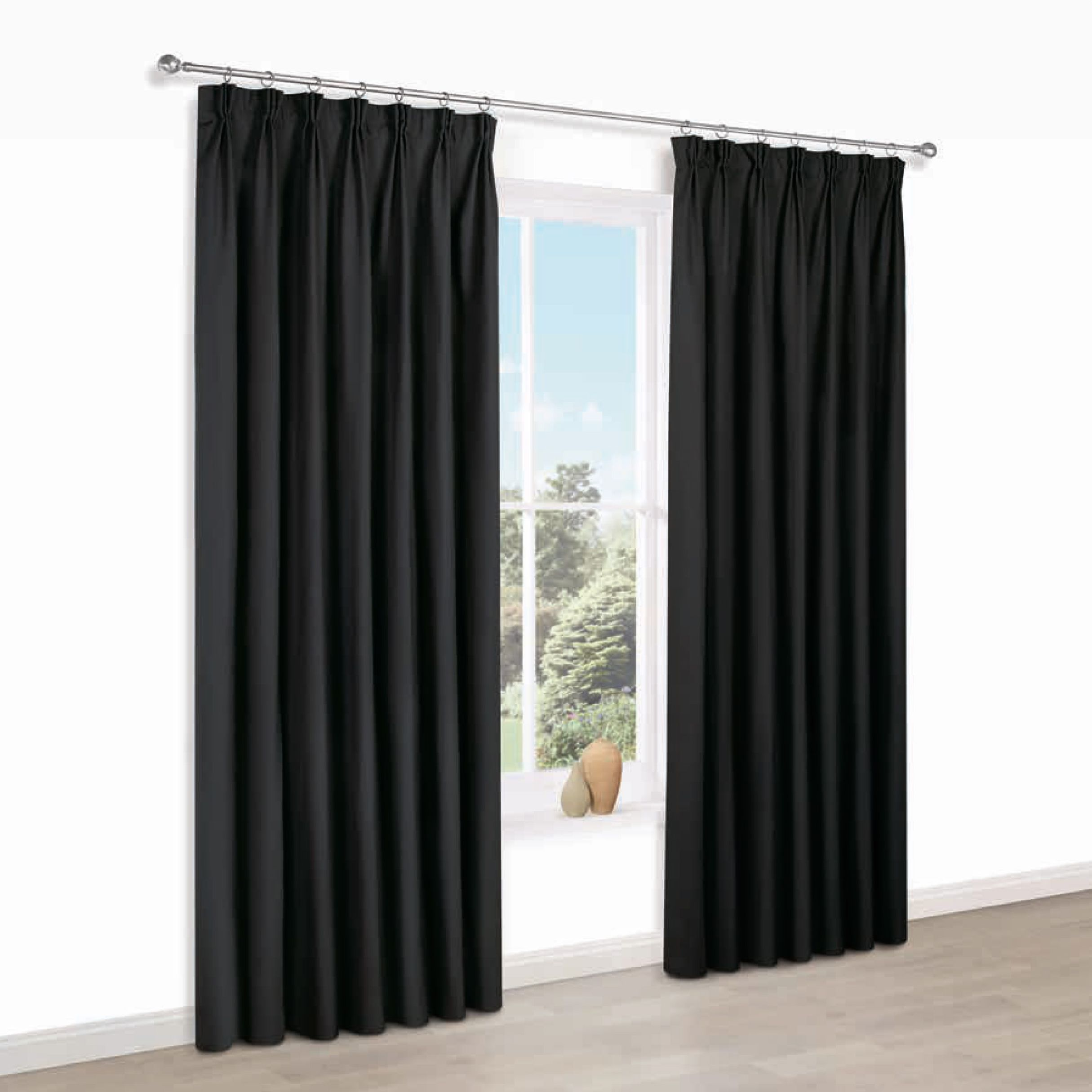 b q grey pencil pleat curtains. Black Bedroom Furniture Sets. Home Design Ideas