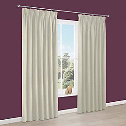 Prestige Cream Plain Pencil Pleat Lined Curtains (W)167