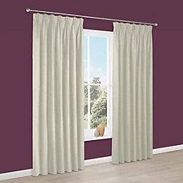 Prestige Cream Plain Pencil pleat Lined Curtains (W)228