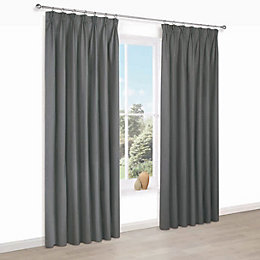 Prestine Anthracite Plain Pencil pleat Lined Curtains (W)167