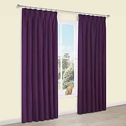 Prestige Purple Plain Pencil Pleat Lined Curtains (W)167