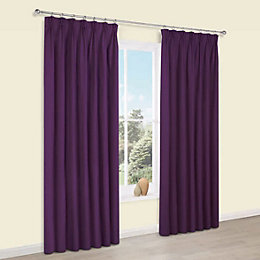 Prestige Purple Plain Pencil Pleat Lined Curtains (W)228