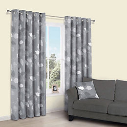 Centola Grey Leaves Print Eyelet Lined Curtains (W)167