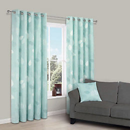 Centola Duck Egg Leaves Print Eyelet Lined Curtains