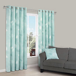 Centola Duck Egg Leaves Polyester Eyelet Lined Curtains