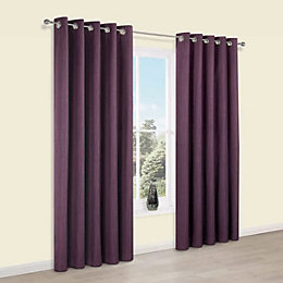 Durene Purple Plain Blackout Eyelet Blackout Curtains (W)228