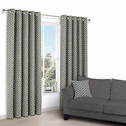 Edeva Grey Diamond Jacquard Eyelet Lined Curtains (W)167