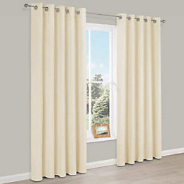 Carem Cream Plain Chenille Eyelet Lined Curtains (W)117