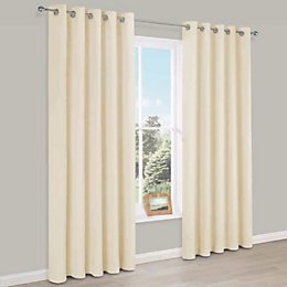 Carem Cream Plain Chenille Eyelet Lined Curtains (W)228