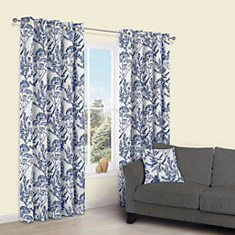 Charde Blue Meadow Print Eyelet Lined Curtains (W)117