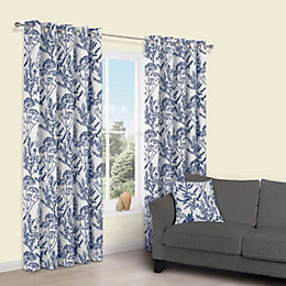 Charde Blue Meadow Print Eyelet Lined Curtains (W)167