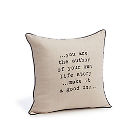 Connie You Are The Author' Cream Cushion