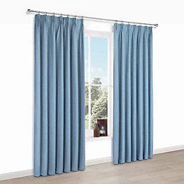 Elva Blue Plain Blackout Pencil Pleat Blackout Curtains
