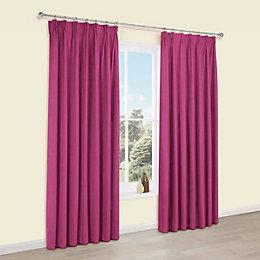 Elva Fuchsia Plain Blackout Pencil Pleat Blackout Curtains