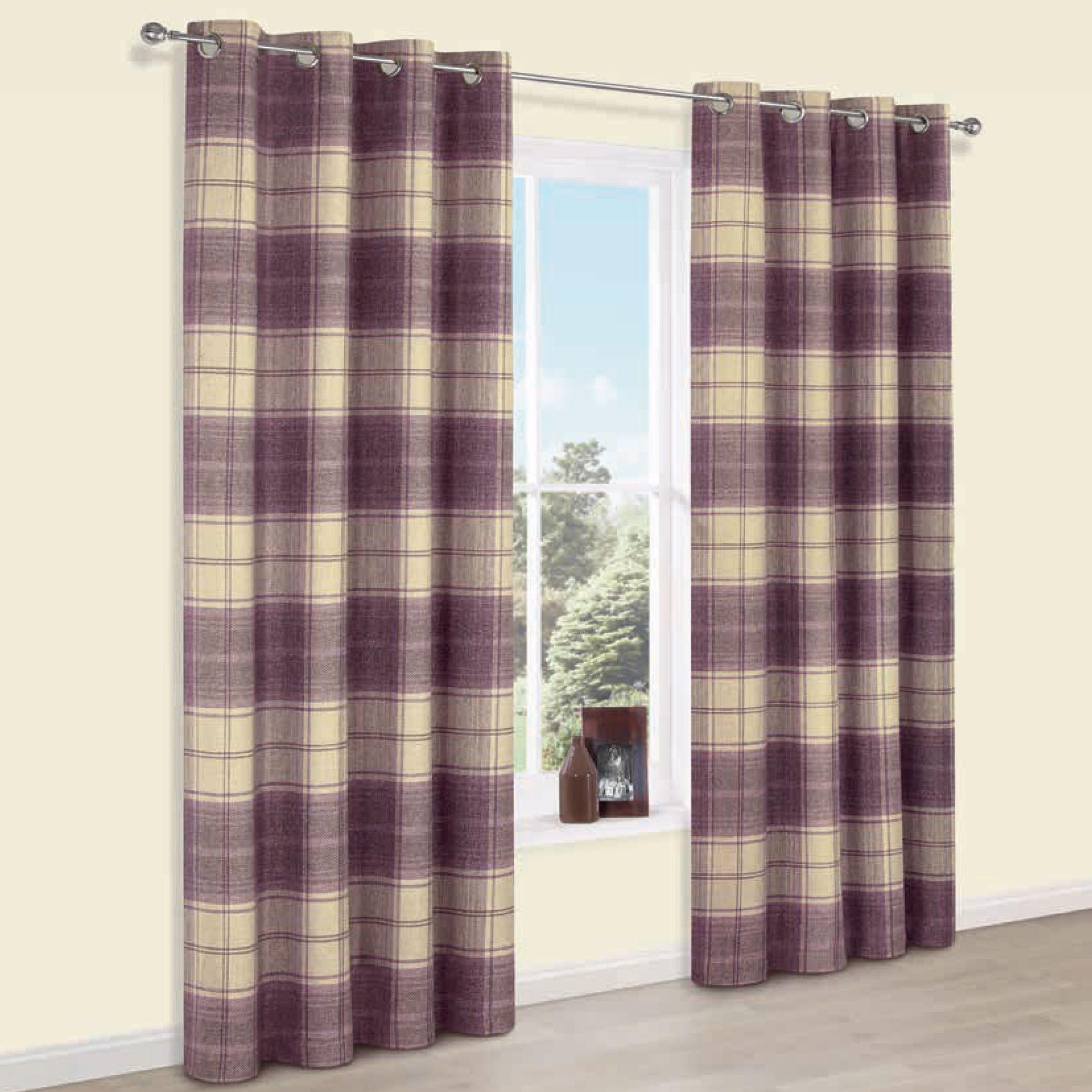Esmeralda Purple Check Thermal Eyelet Lined Curtains W167 Cm L183