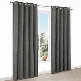 Enara Anthracite Pinstripe Jacquard Eyelet Lined Curtains (W)117