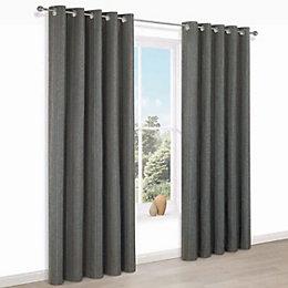 Enara Anthracite Pinstripe Jacquard Eyelet Lined Curtains (W)228