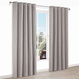 Enara Brown Pinstripe Jacquard Eyelet Lined Curtains (W)167