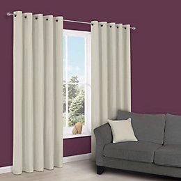 Zen Limestone Plain Eyelet Curtains (W)167 cm (L)183