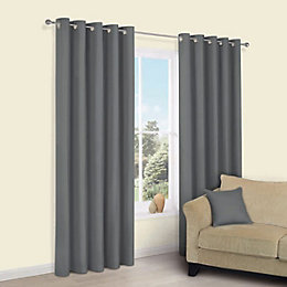 Zen Anthracite Plain Eyelet Curtains (W)228 cm (L)228