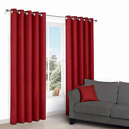 Zen Flame Plain Eyelet Curtains (W)167 cm (L)183