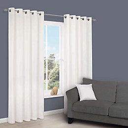 Zen White Plain Eyelet Curtains (W)167 cm (L)183