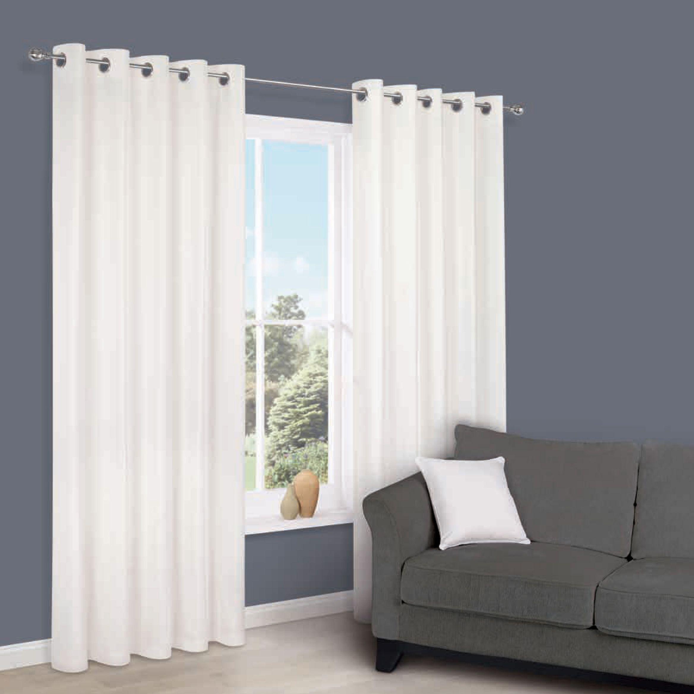 Zen White Plain Eyelet Curtains (W)228 cm (L)228 cm | Departments | DIY at B&Q