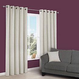 Cherelle Limestone Stripe Eyelet Lined Curtains (W)117 cm
