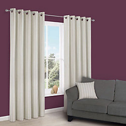 Cherelle Limestone Stripe Eyelet Lined Curtains (W)228 cm