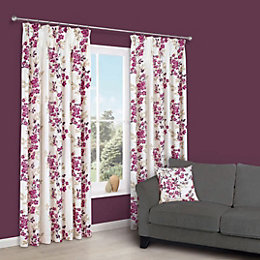 Deysi Pink Floral Pencil Pleat Lined Curtains (W)167