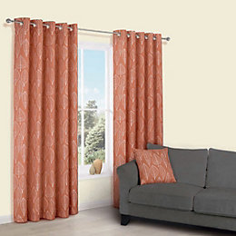 Carminda Orange Leaves Print Eyelet Lined Curtains (W)117