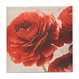 Floral Red & White Canvas (W)600mm (H)600mm