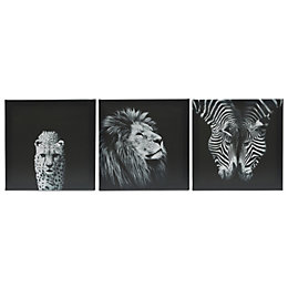 Animals Black & White Canvas (W)900mm (H)300mm, Set