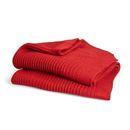 Kande Red Plain Knitted Throw