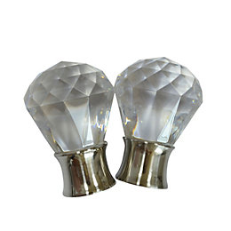 Stainless Steel Effect Acrylic Crystal Orb Curtain Finial
